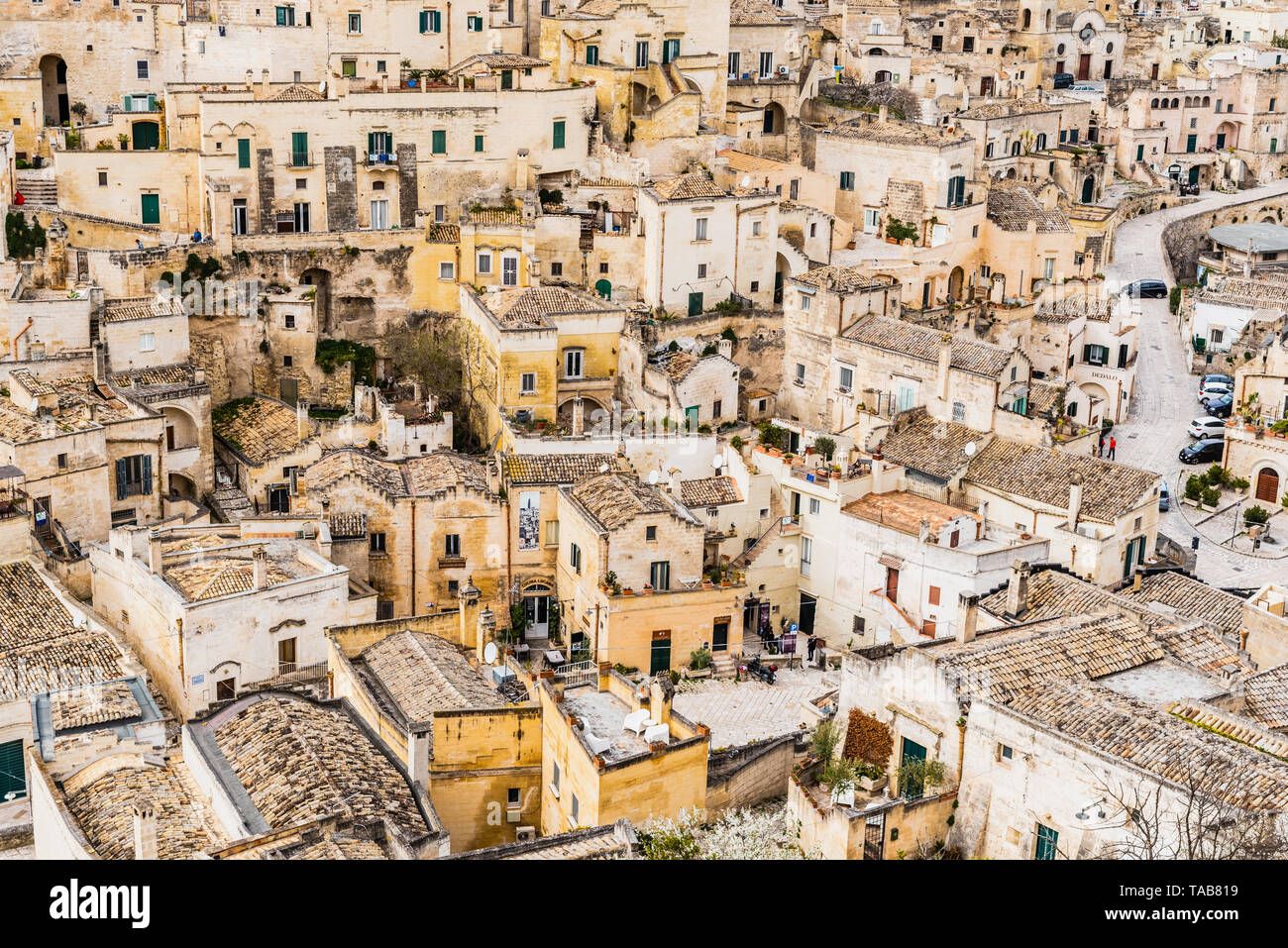 Panoramas of the ancient medieval city of Matera, in Italy. - Stock Image