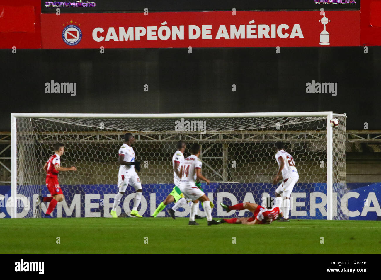 BUENOS AIRES, 23.05.2019: Gabriel Hauche shoots  during the match between Argentinos Juniors and Deportes Tolima for the 2nd round of Conmebol Sudamer - Stock Image