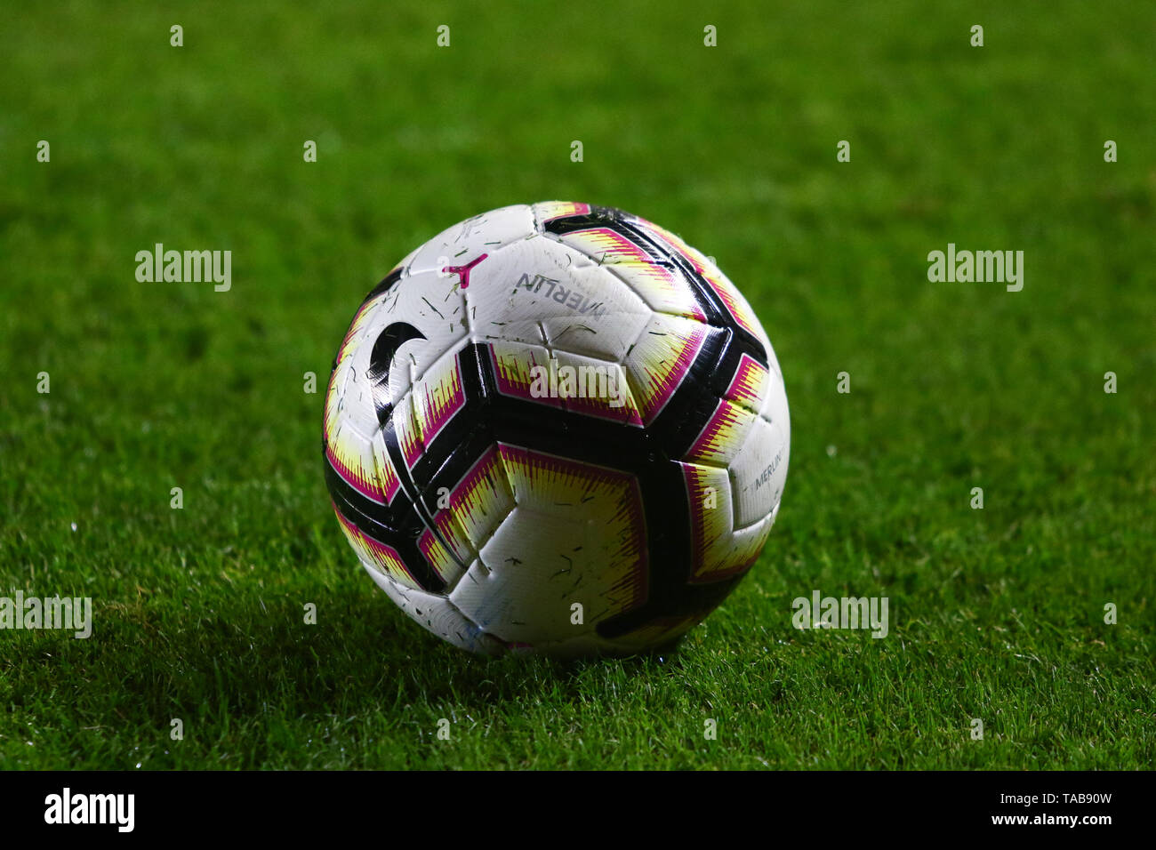 BUENOS AIRES, 23.05.2019: Official ball during the match between Argentinos Juniors and Deportes Tolima for the 2nd round of Conmebol Sudamericana Cup - Stock Image