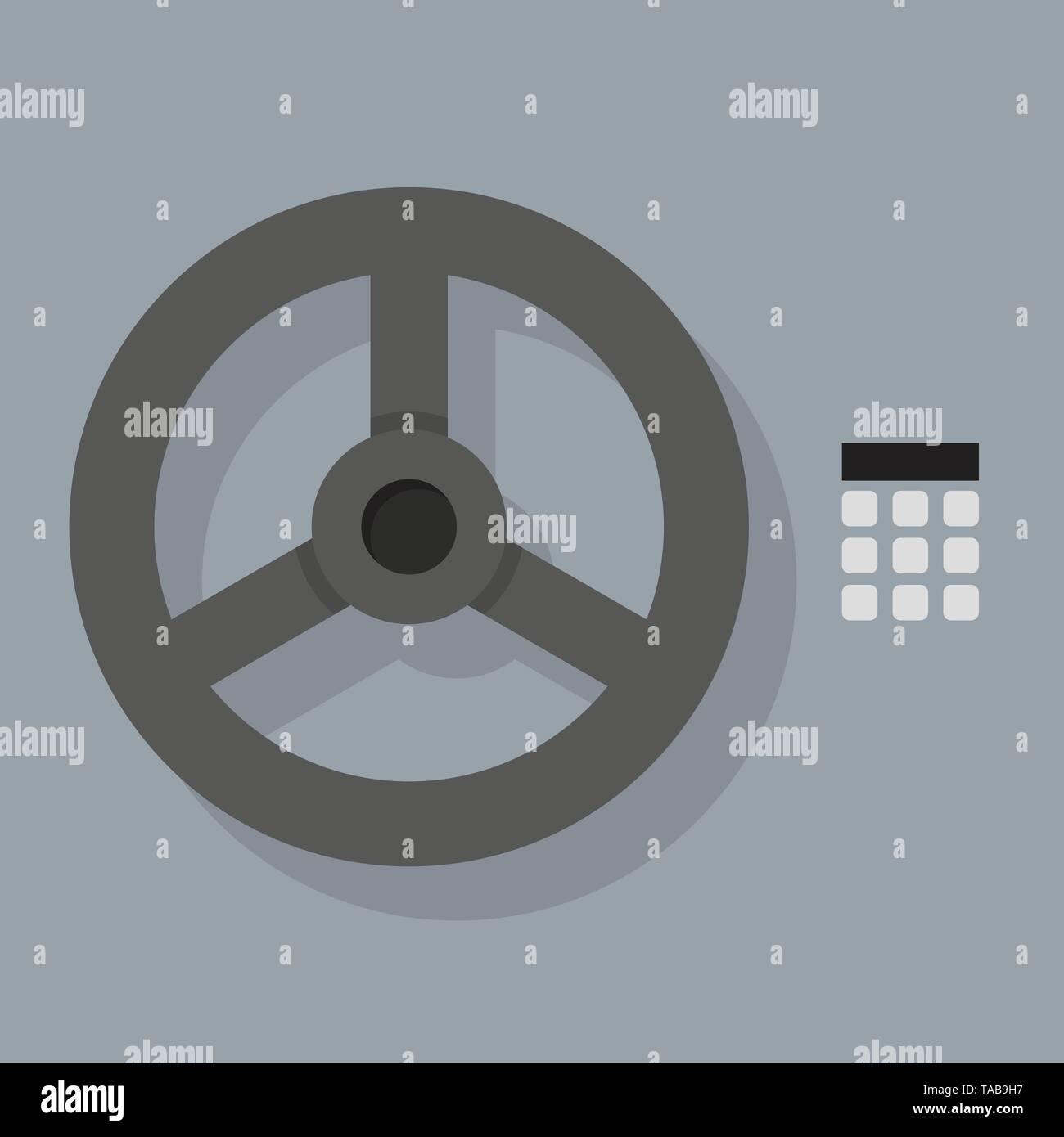 Closeup of Bank vault Safe door. Vector illustration - Stock Image