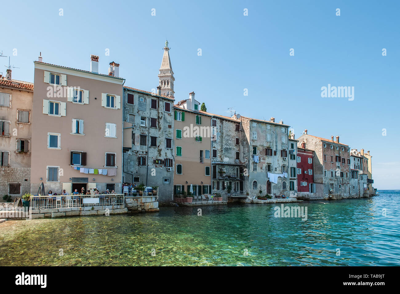Beautiful and cozy medieval town of Rovinj, colorful with houses and church in Croatia, Europe. - Stock Image