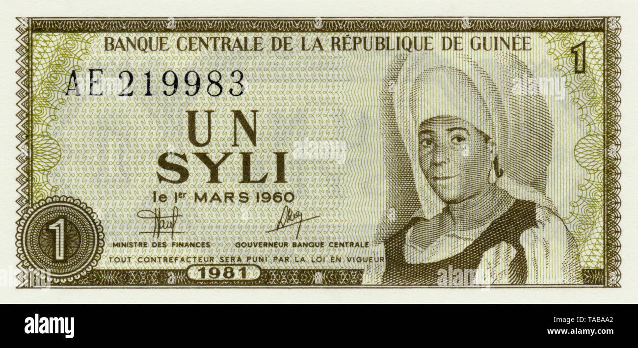Banknote,1 Syli, Mafori Bangoura, 1981, Guinea, Afrika - Stock Image