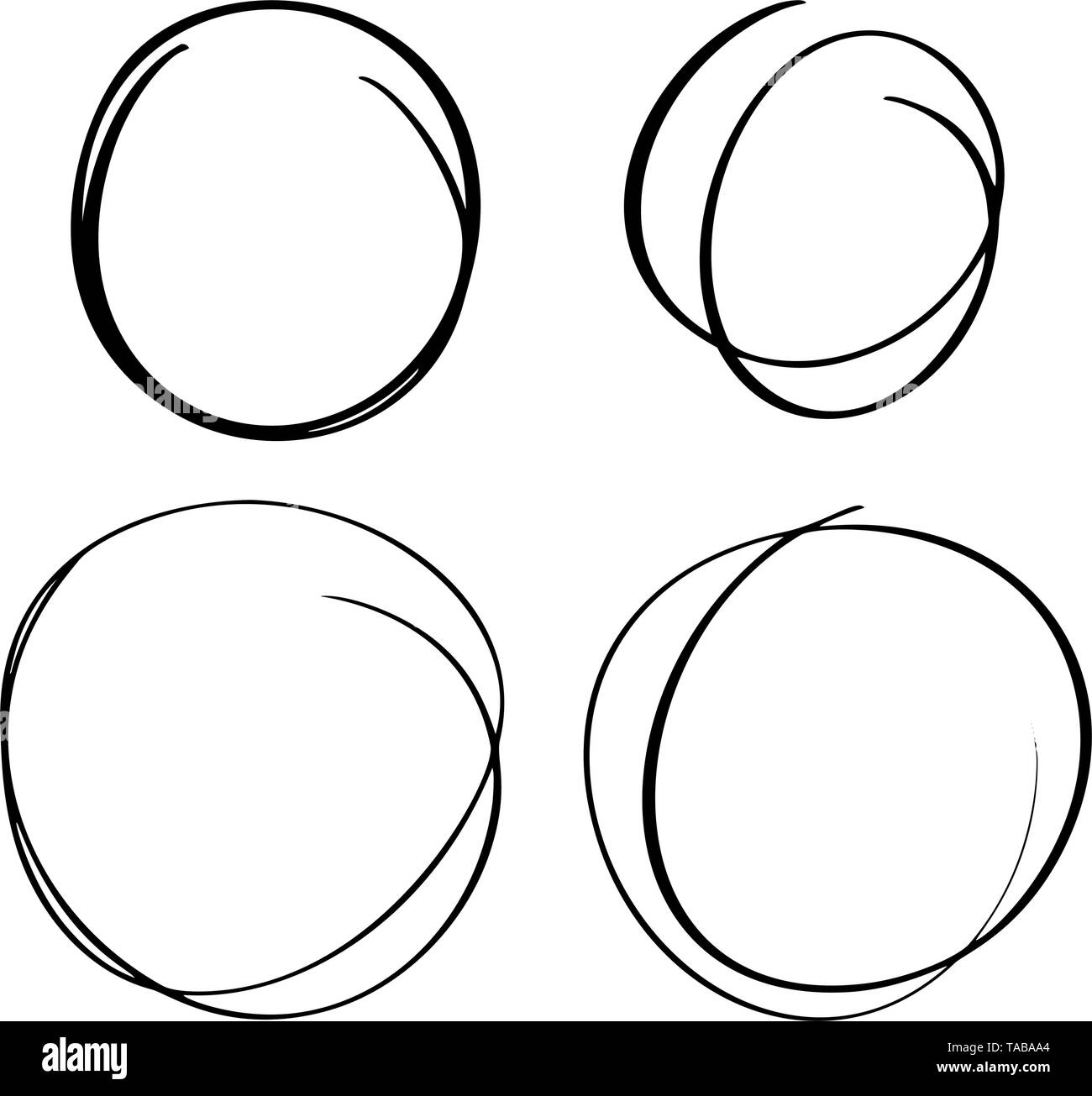 Hand drawn circle line sketch set. Vector circular scribble doodle round circles for message note mark design element. Pencil or pen graffiti bubble o - Stock Image