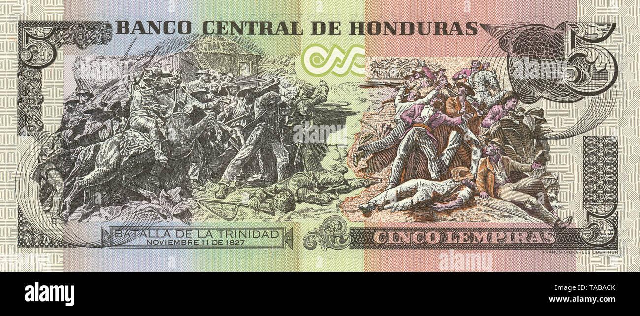 Banknote aus Honduras, 5  Lempira, Batalla de La Trinidad, die Schlacht von La Trinidad, 2006 - Stock Image