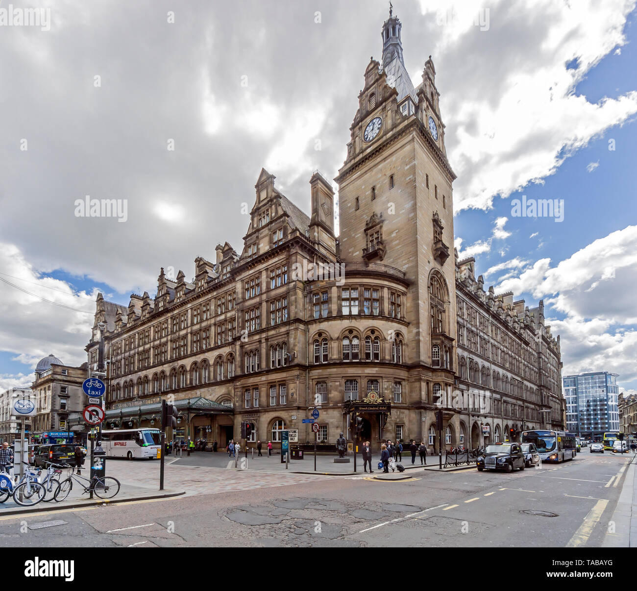 Glasgow Central railway Station on the corner Hope Street and Gordon Street in Glasgow Scotland UK - Stock Image