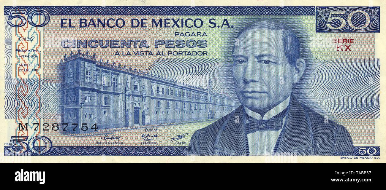 Banknote aus Mexiko, 50 Peso, Benito Pablo Juárez, 1981, Banknote from Mexico, 50 peso, Benito Pablo Juárez, 1981 - Stock Image