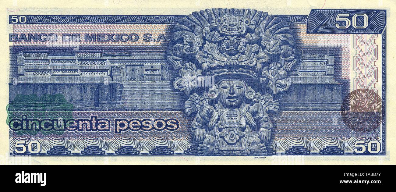 Banknote aus Mexiko, 50 Peso, Urna Zapoteca, aztekischer Gott der Zapoteken, 1981, Banknote from Mexico, 50 peso, Urna Zapoteca, Aztec god of the Zapotec, 1981 - Stock Image