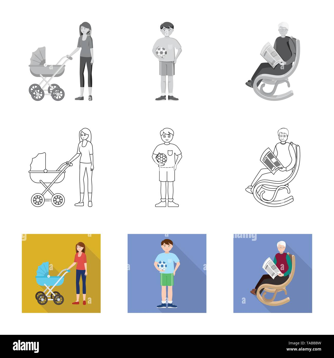 Vector design of character and avatar  symbol. Set of character and portrait vector icon for stock. - Stock Image