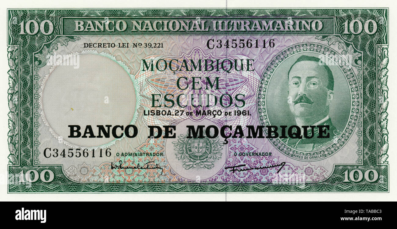 Banknote, 100 Escudos, Aires de Ornelas de Vasconcelos, 1976, Mosambik, Afrika - Stock Image