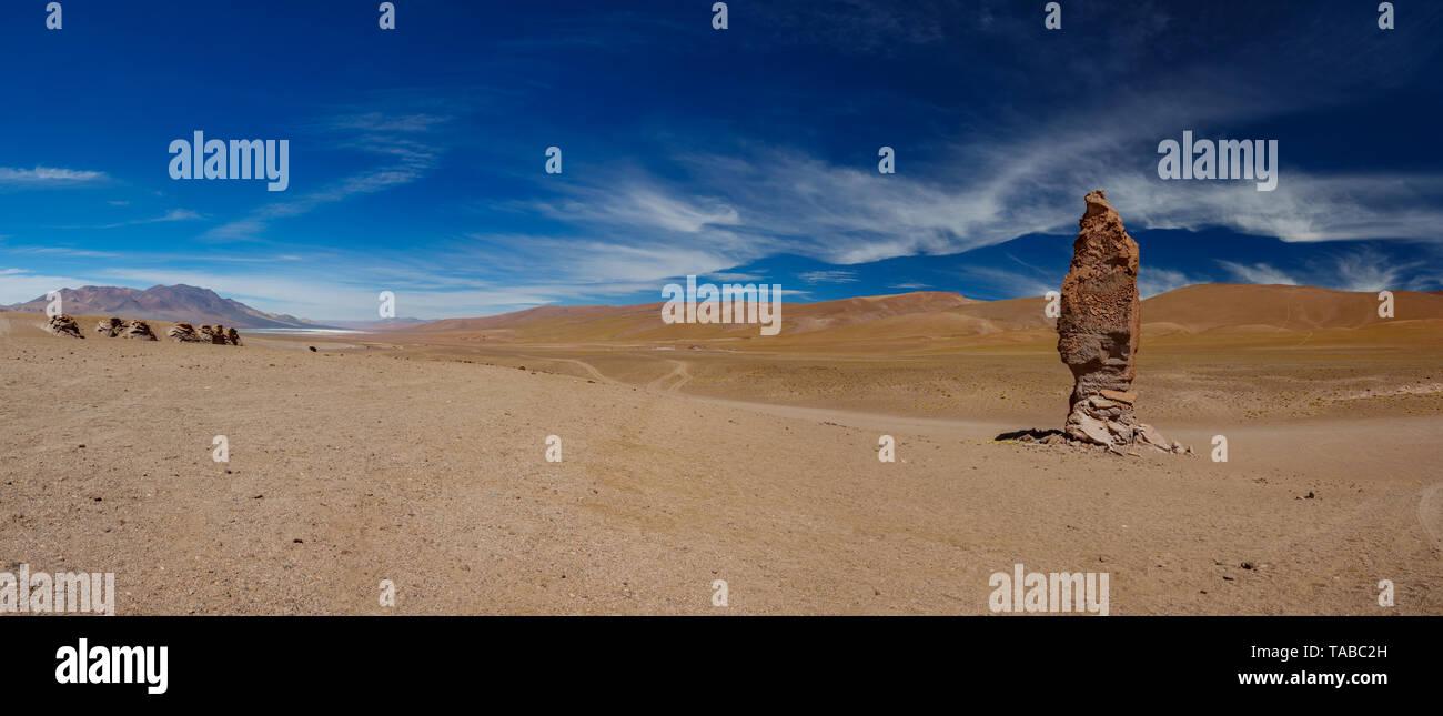 Stone formation of Pacana Monks near Salar De Tara, huge panorama - Stock Image