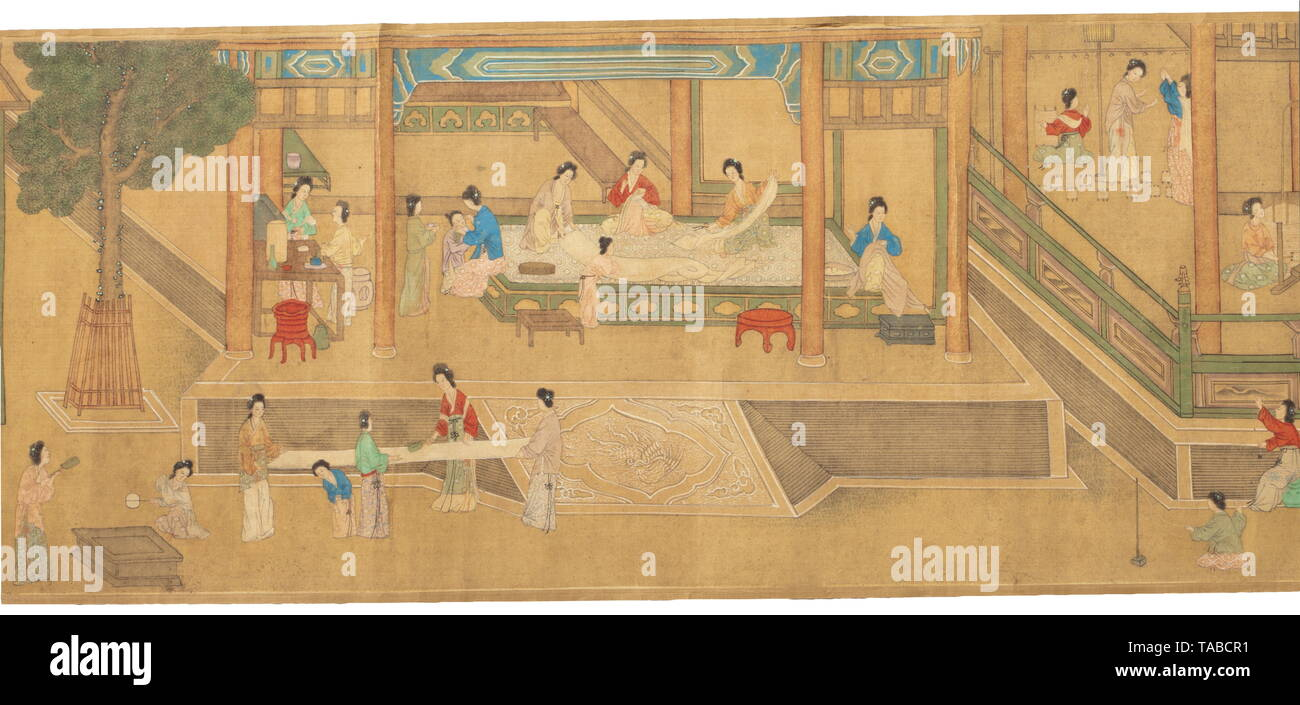 A Chinese scroll painting, probably Yuan dynasty(?) Detailed