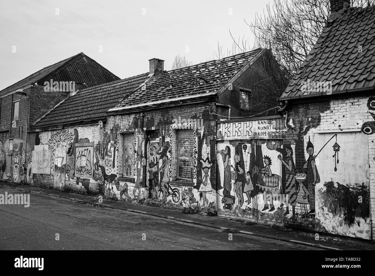 Abandoned town of Doel in Belgium - Stock Image