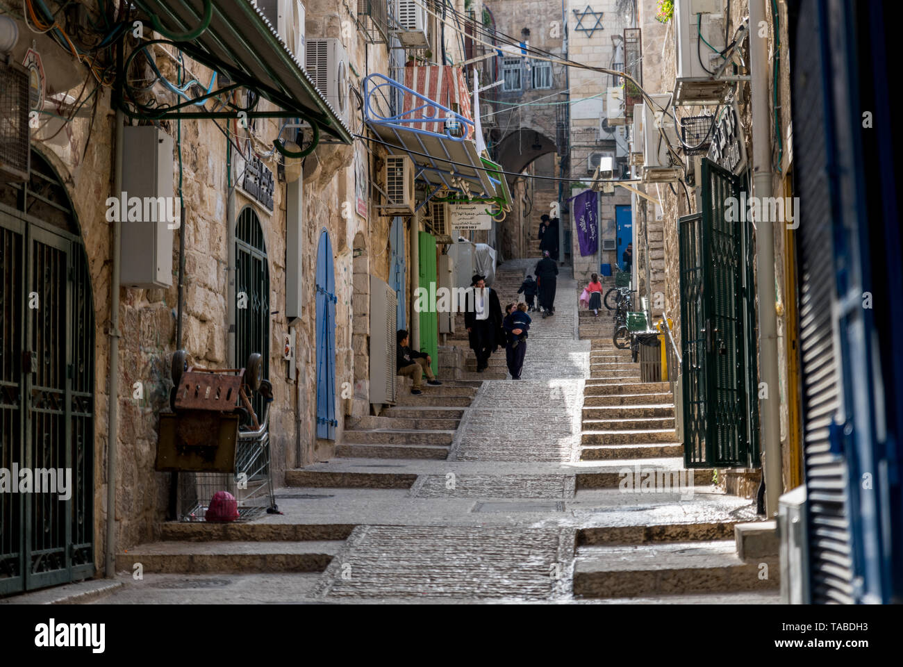 Jerusalem,Israel,27-03-2019:jew people walking in the streets of jerusalem, jerusalem is the religious city of israel - Stock Image