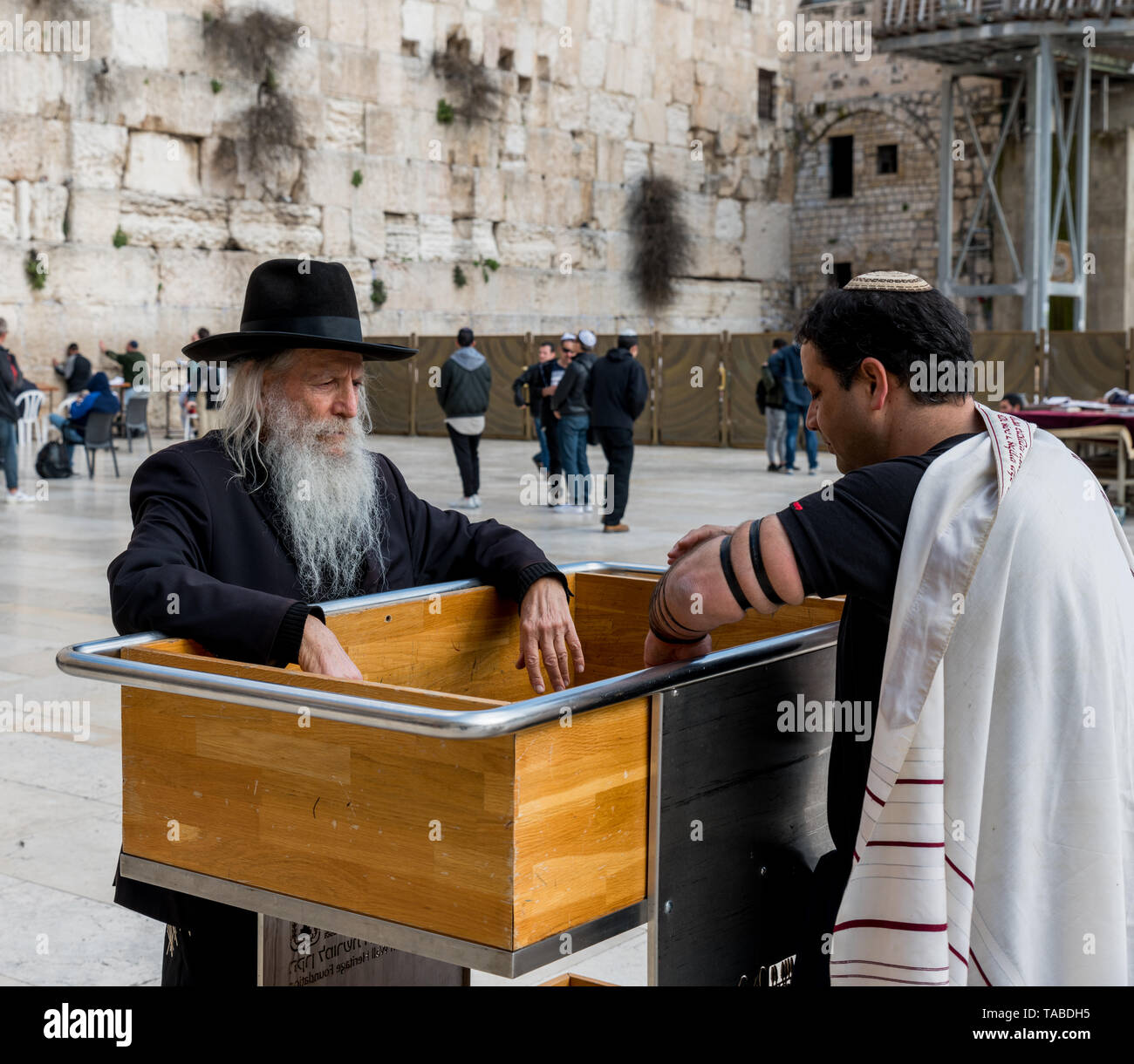 Jerusalem,Israel,27-03-2019:Jew pray at the western wall in Jerusalem, this is the most holy place of the old city of Jerusalem - Stock Image