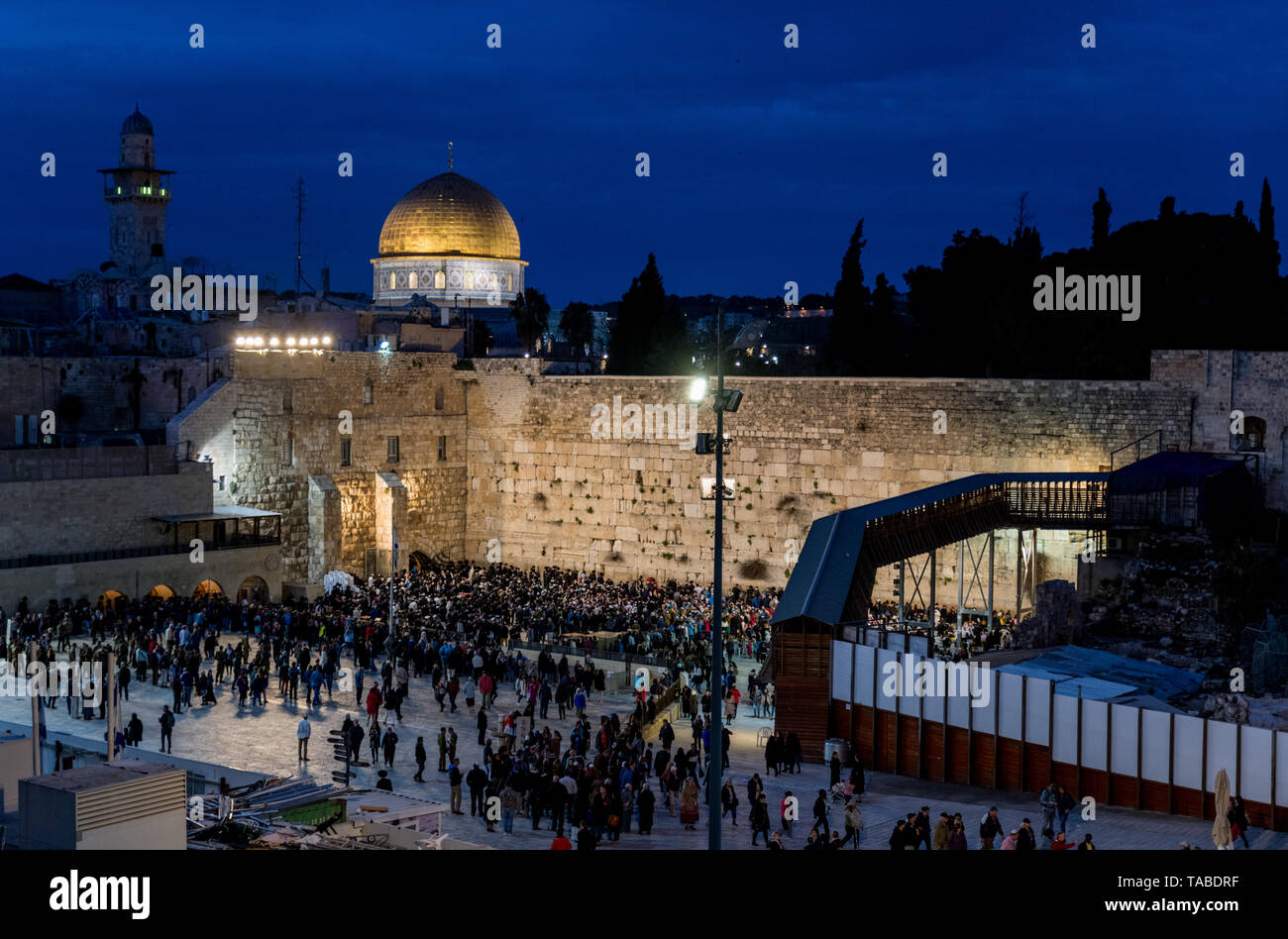 Jerusalem,Israel,29-March-2019:Skyline of Jerusalem at the western wall or wailing waa at night during sabbath,sabbath starts the friday evening in is - Stock Image