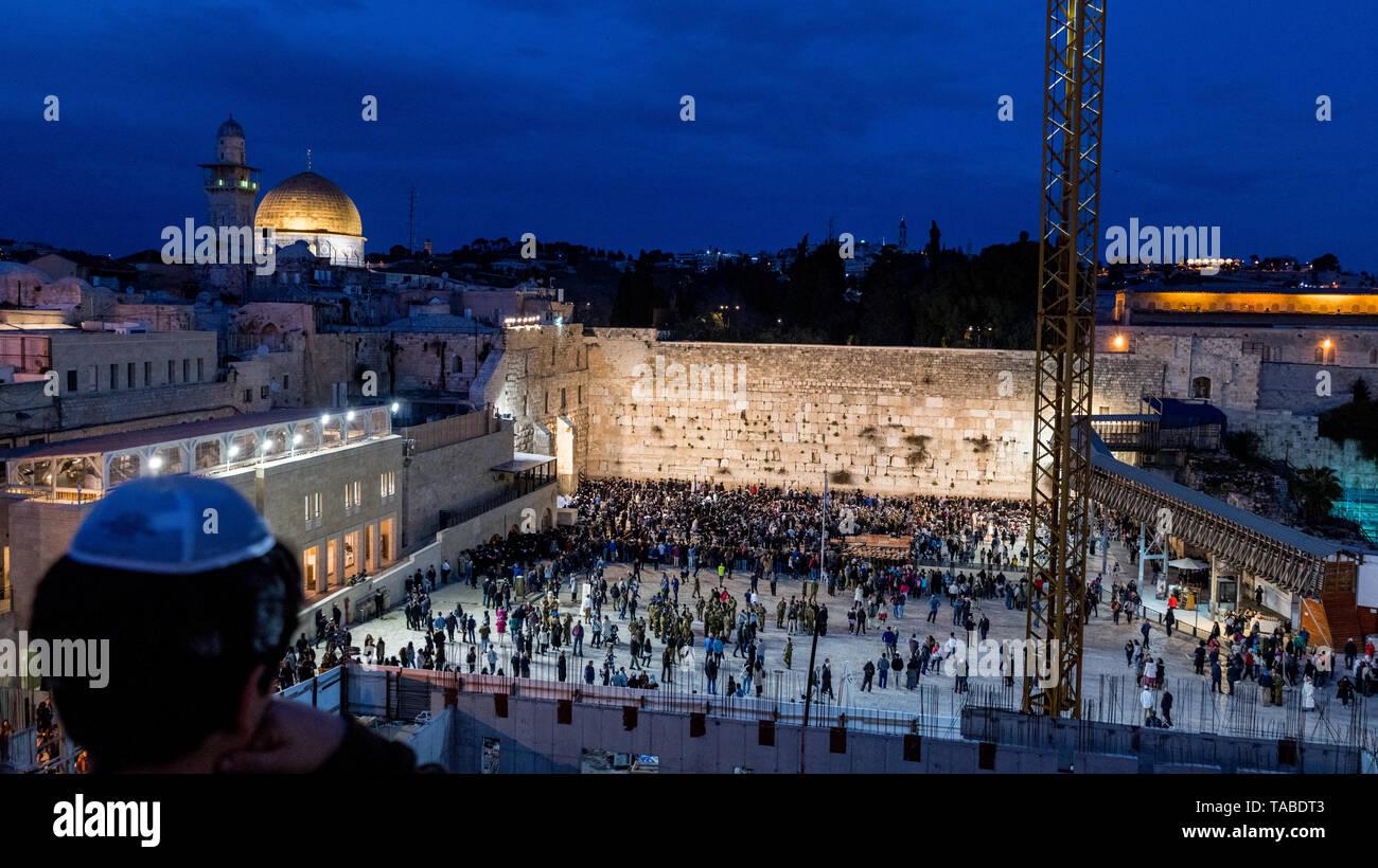 Jerusalem,Israel,29-March-2019:Skyline of Jerusalem at the western wall or wailing waa at night during sabbath,sabbath starts the friday evening in israel Stock Photo