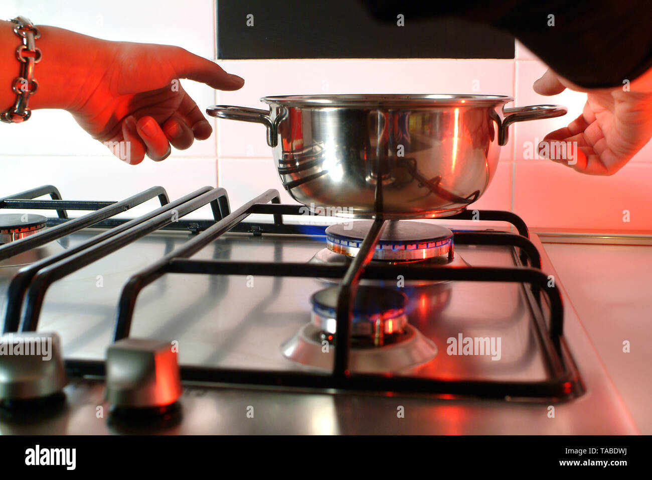 Domestic accidents, burns with hot water. - Stock Image