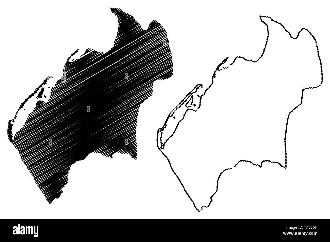 Luanda Province (Provinces of Angola, Republic of Angola) map vector illustration, scribble sketch Luanda map - Stock Vector