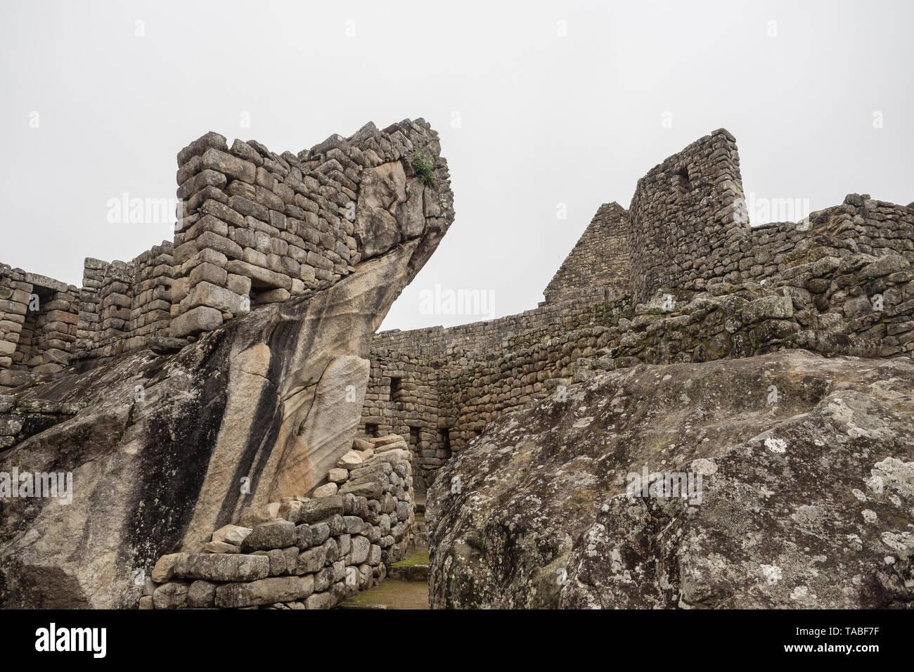 Detail of the architecture in the Inca ruins of Machu Picchu, Cuzco Peru - Stock Image