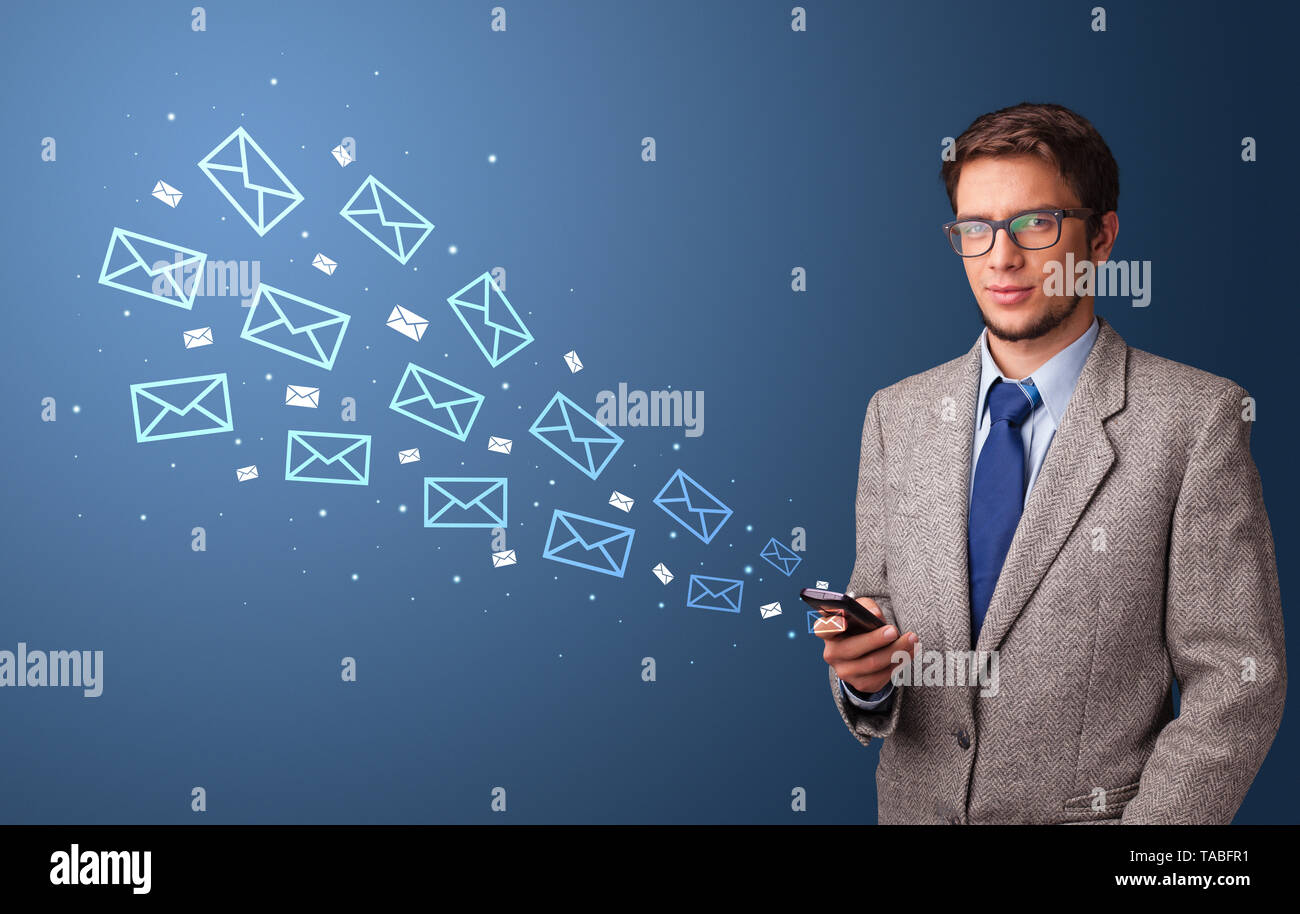 Businessman using phone with online communication concept around  - Stock Image