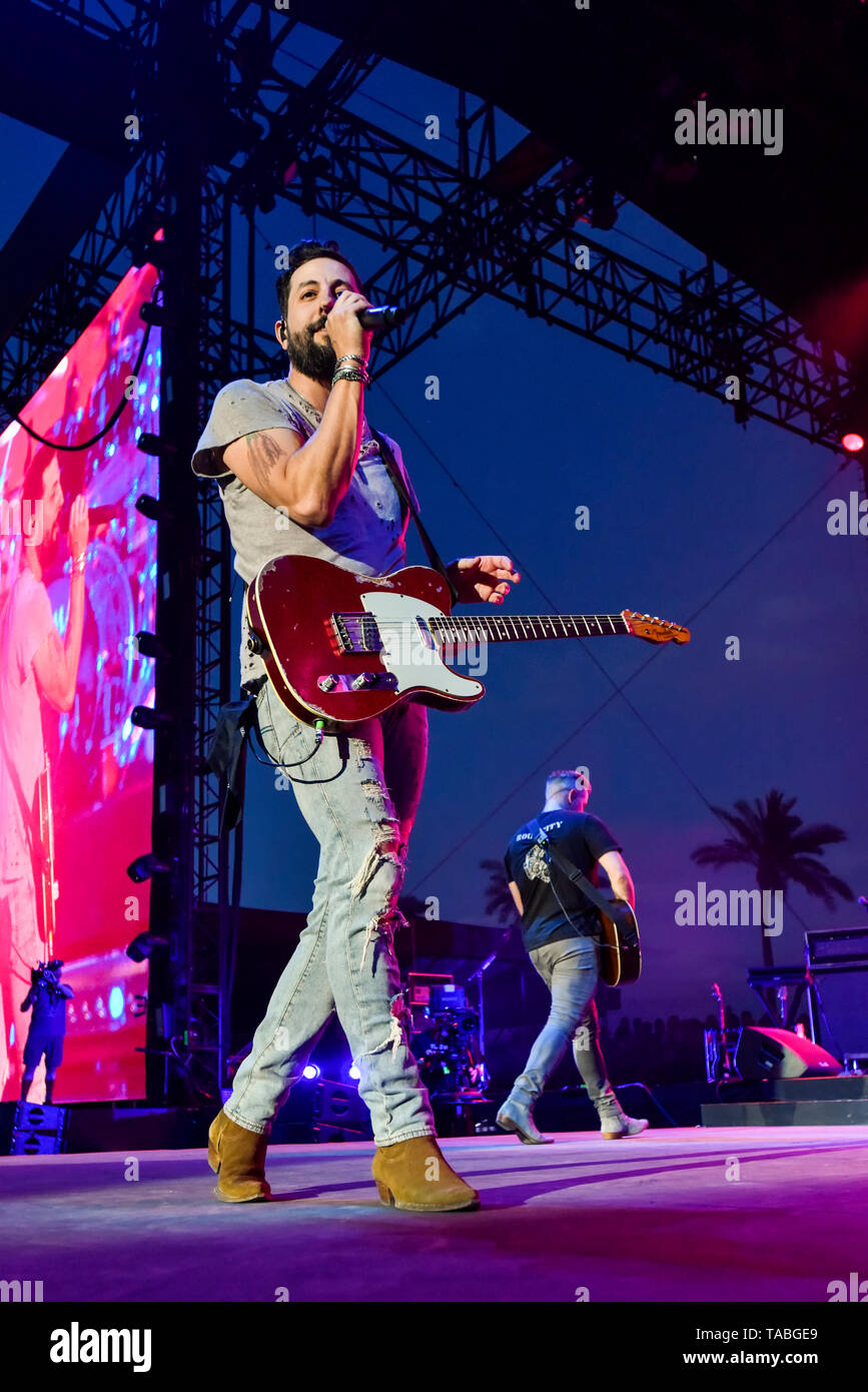 Indio, California, April 28, 2019, Old Dominion on stage performing to an energetic crowd on day 3 of the Stage Coach Country Music Festival. Stock Photo