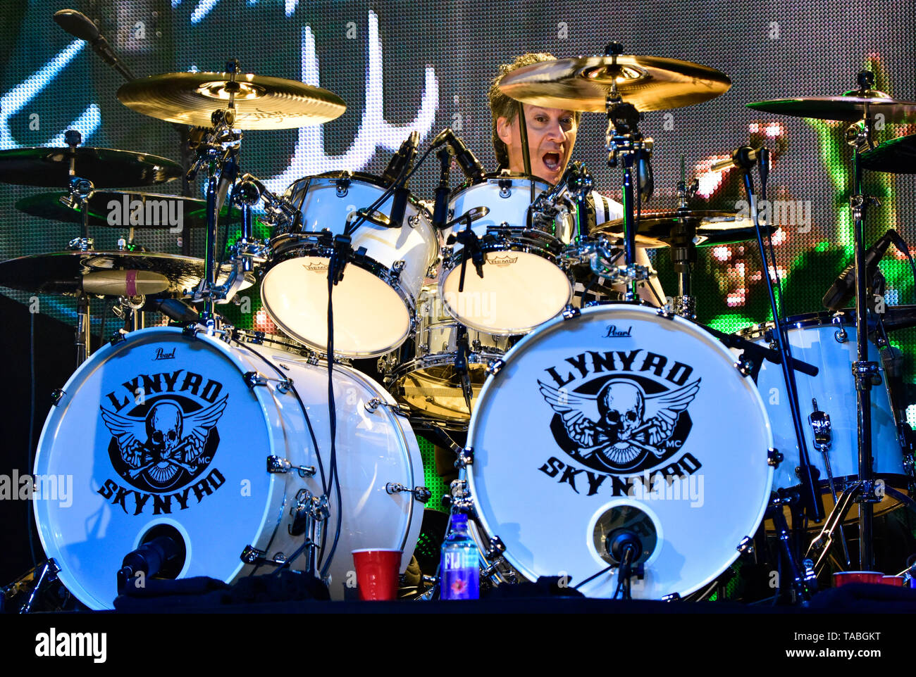 Indio, California, April 27, 2019, Lynyrd Skynyrd on stage performing to an energetic crowd on day 3 of the Stage Coach Country Music Festival. Stock Photo