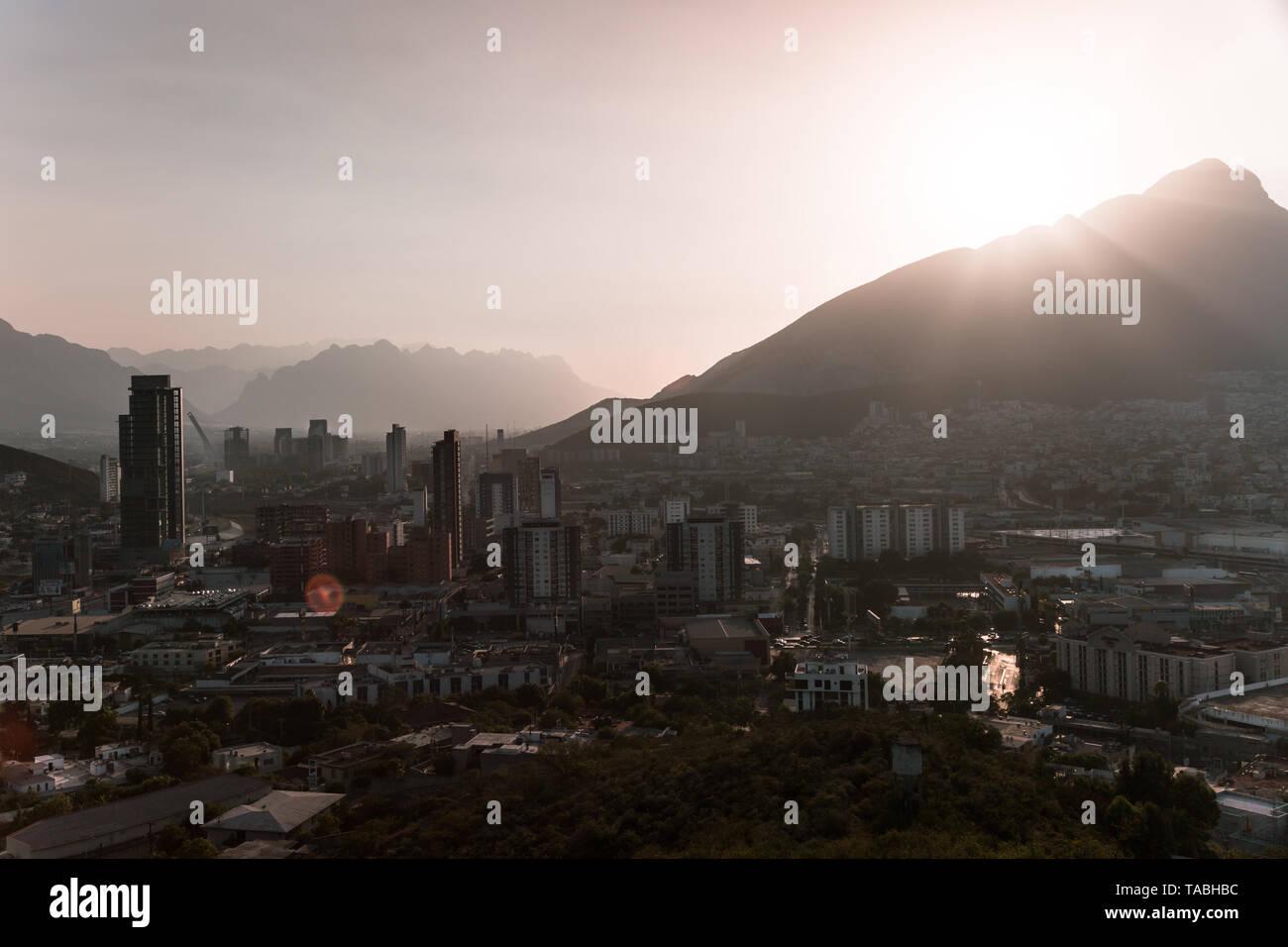 Monterrey, sunset, valley, cerro de la silla, buildings, horizon, sun, Stock Photo
