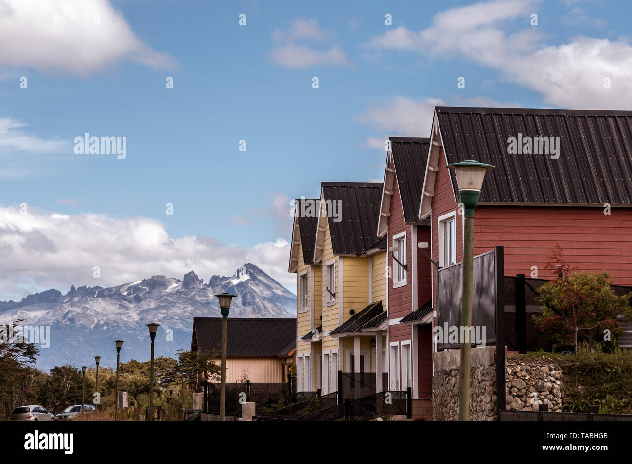Argentina, Ushuaia, End of the World, neighborhood, houses, mountains, Patagonia, view. - Stock Image
