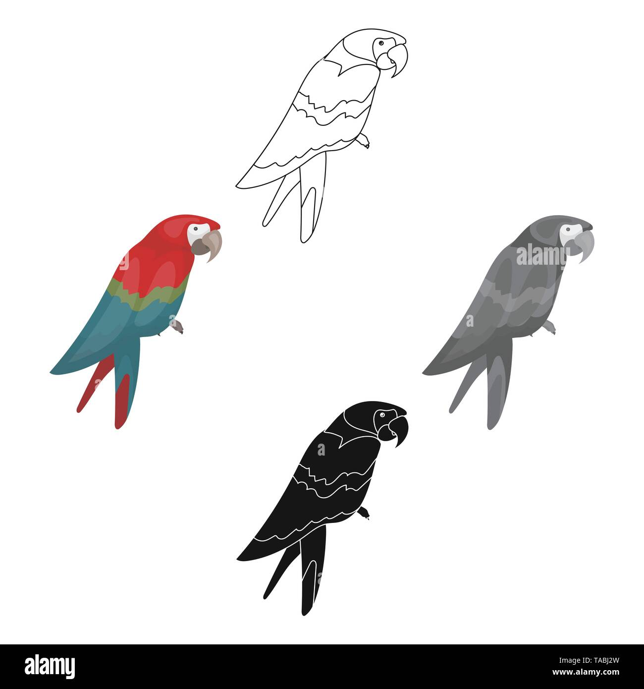 Pirate s parrot icon in cartoon,black style isolated on white background. Pirates symbol vector illustration. - Stock Image
