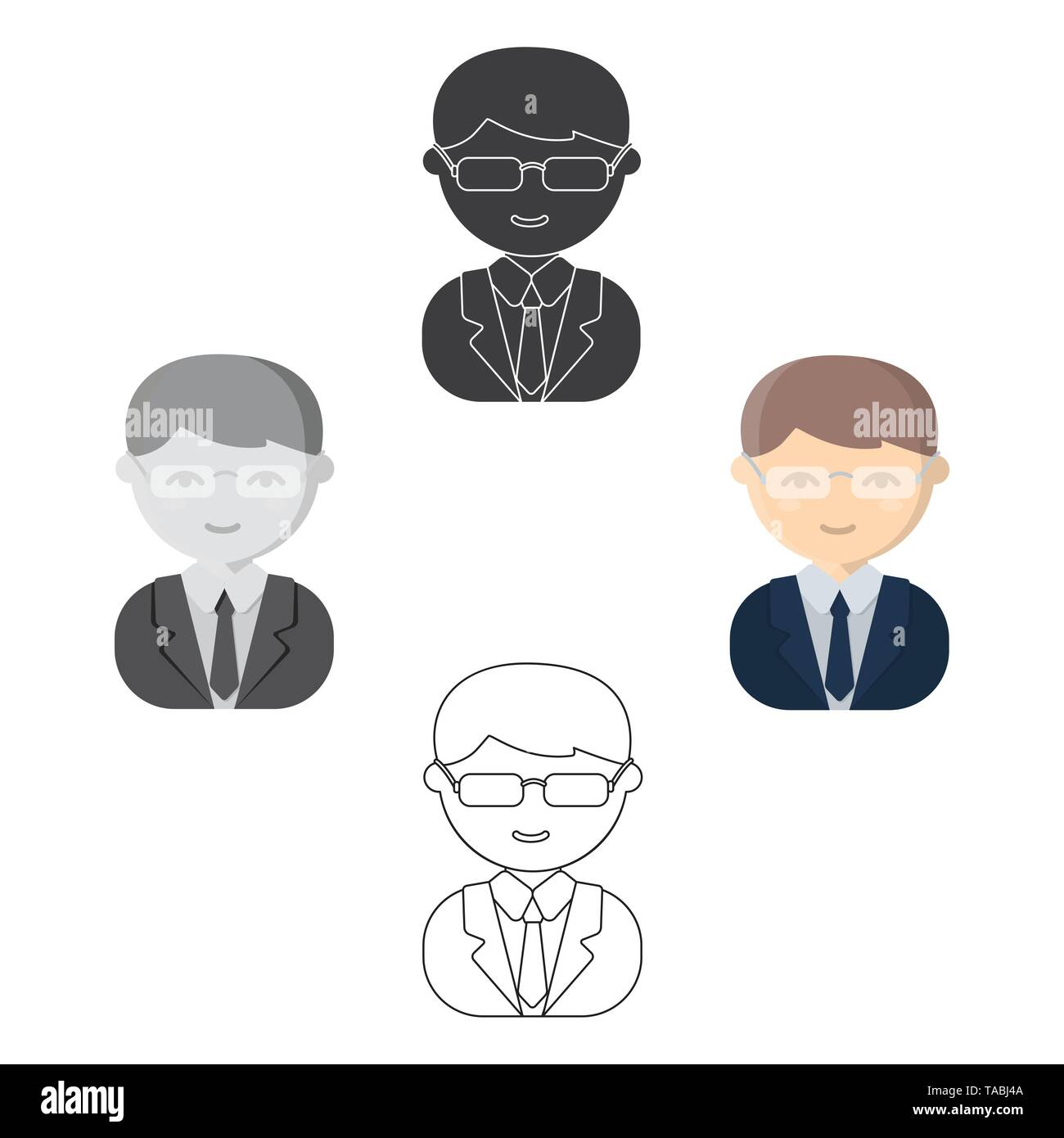 Business man cartoon,black icon. Illustration for web and mobile. - Stock Image