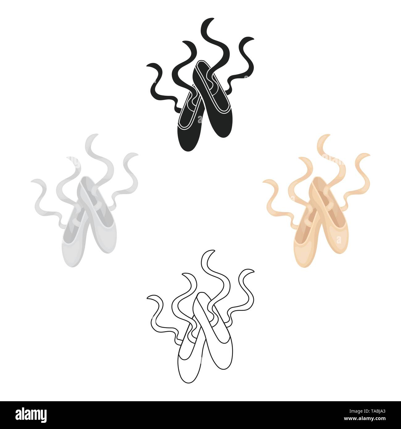 Pointe Shoes icon in cartoon,black style isolated on white background. Theater symbol vector illustration - Stock Image