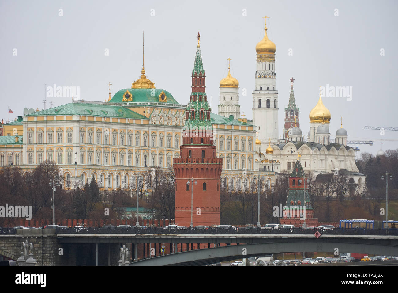 View of Moscow Kremlin, Grand Kremlin Palace and Kremlin cathedrals - Stock Image