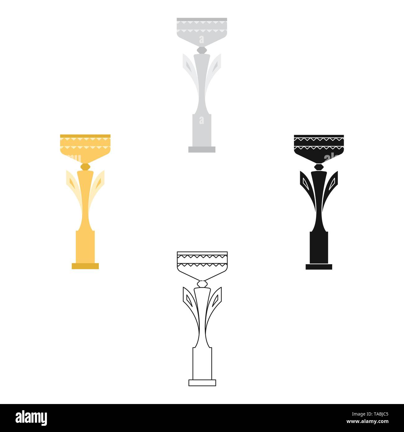Champion s cup icon in cartoon,black style isolated on white background. Winner cup symbol vector illustration. - Stock Image