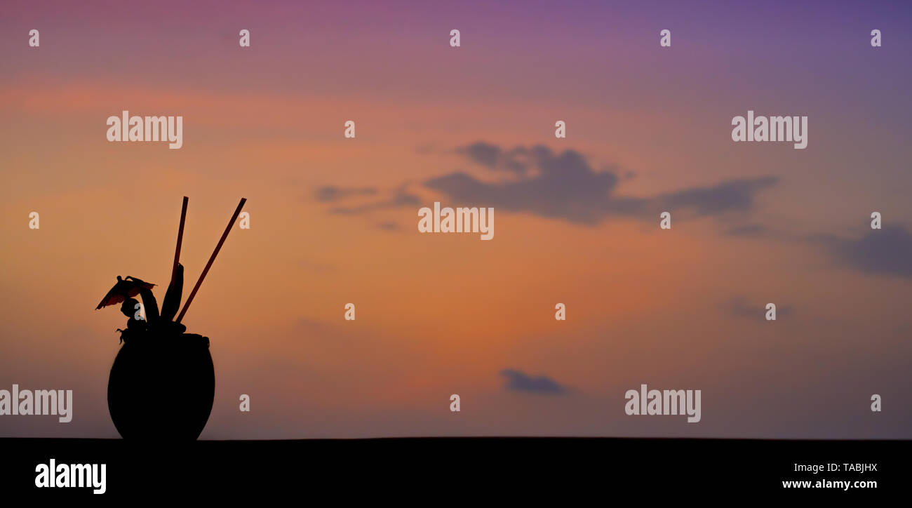 A coconut drink silhouette in front of a tropical sunset. - Stock Image
