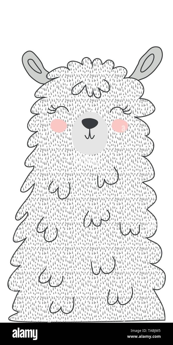 Hand drawn vector illustration of a cute funny llama face Scandinavian style flat design. Concept Stock Vector