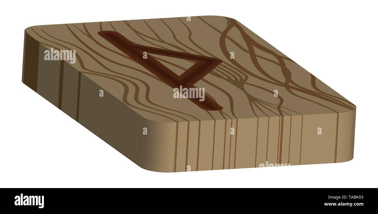 Runa Thurisaz. Horizontal projection. Scandinavian. Imitation burning wood. Wood Cut Texture - Stock Vector
