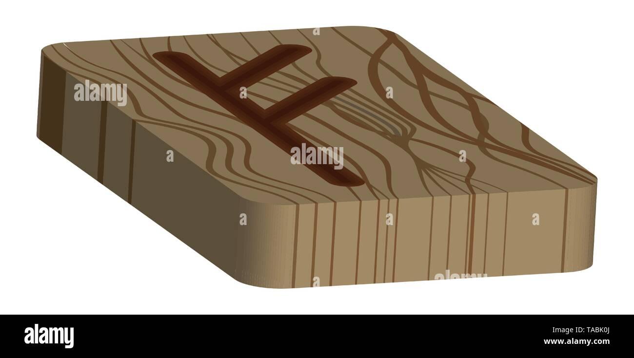 Runa Fehu. Horizontal projection. Scandinavian. Imitation burning wood. Wood Cut Texture - Stock Vector
