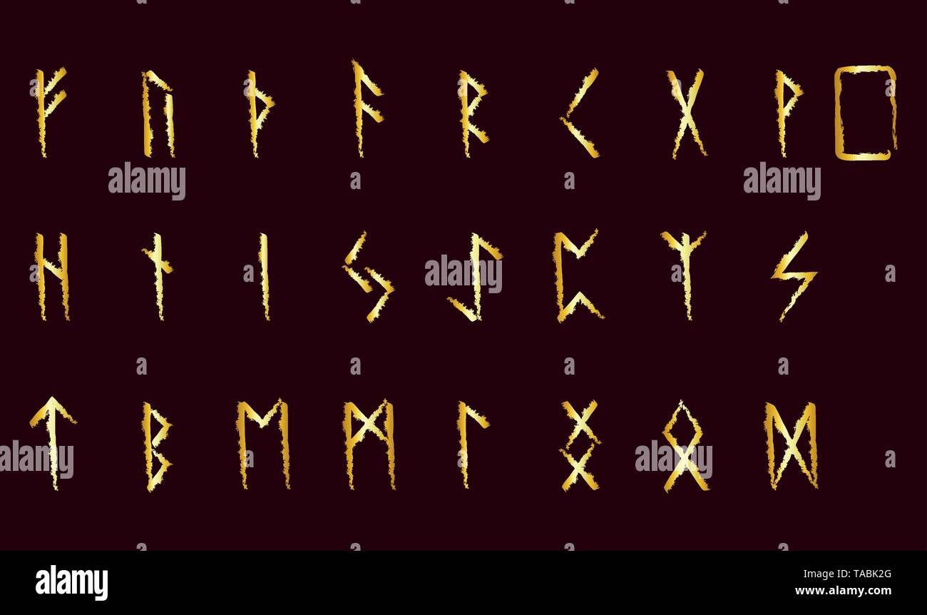 Set of Old Norse Scandinavian runes. Rune alphabet. Occult ancient symbols. - Stock Vector