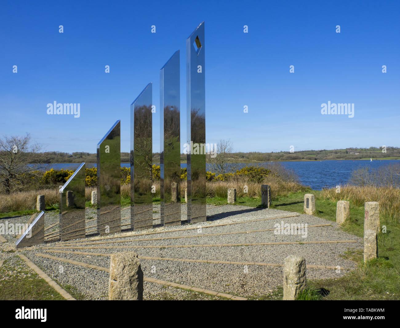 Diamond Jubilee Sundial; Roadford Lake; Devon; UK - Stock Image