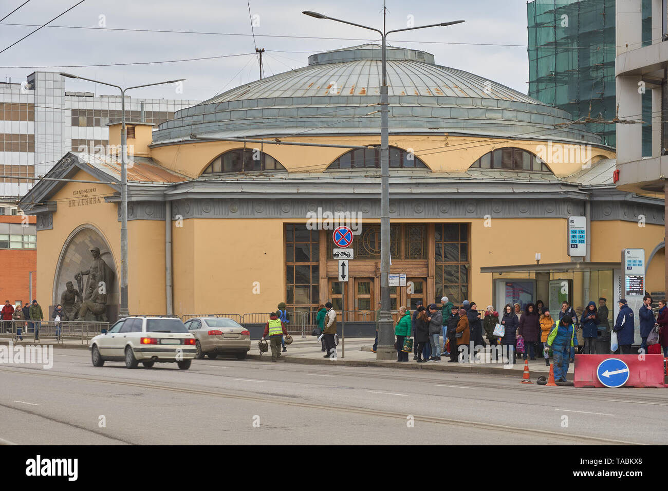 Moscow, Russia - March 23, 2019: Subway station lobby Elektrozavodskaya. Majority of people wait for the public transport. There are information signs Stock Photo