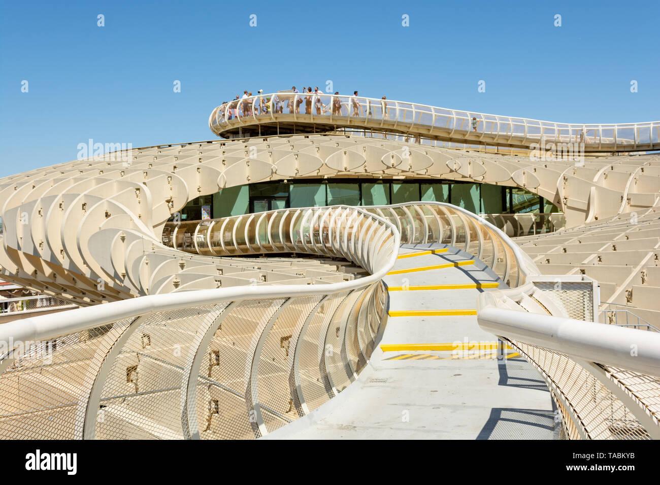 Twisting walkway on top of the Metropol Parasol, La Encarnacion Square, Seville, Andalusia region, Spain - Stock Image