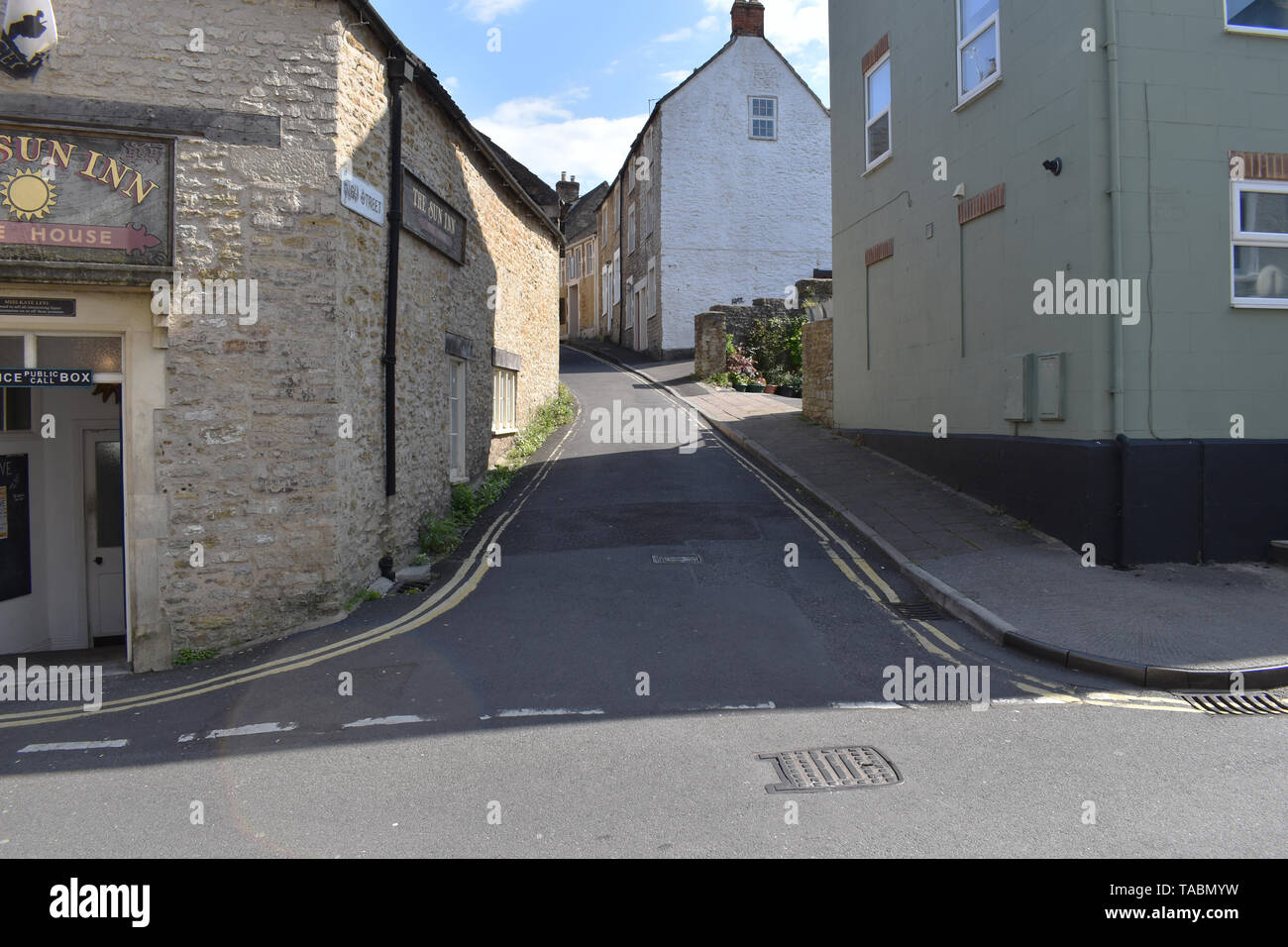 The corner of High St and St Catherine's Street in Frome, Somerset, UK - Stock Image
