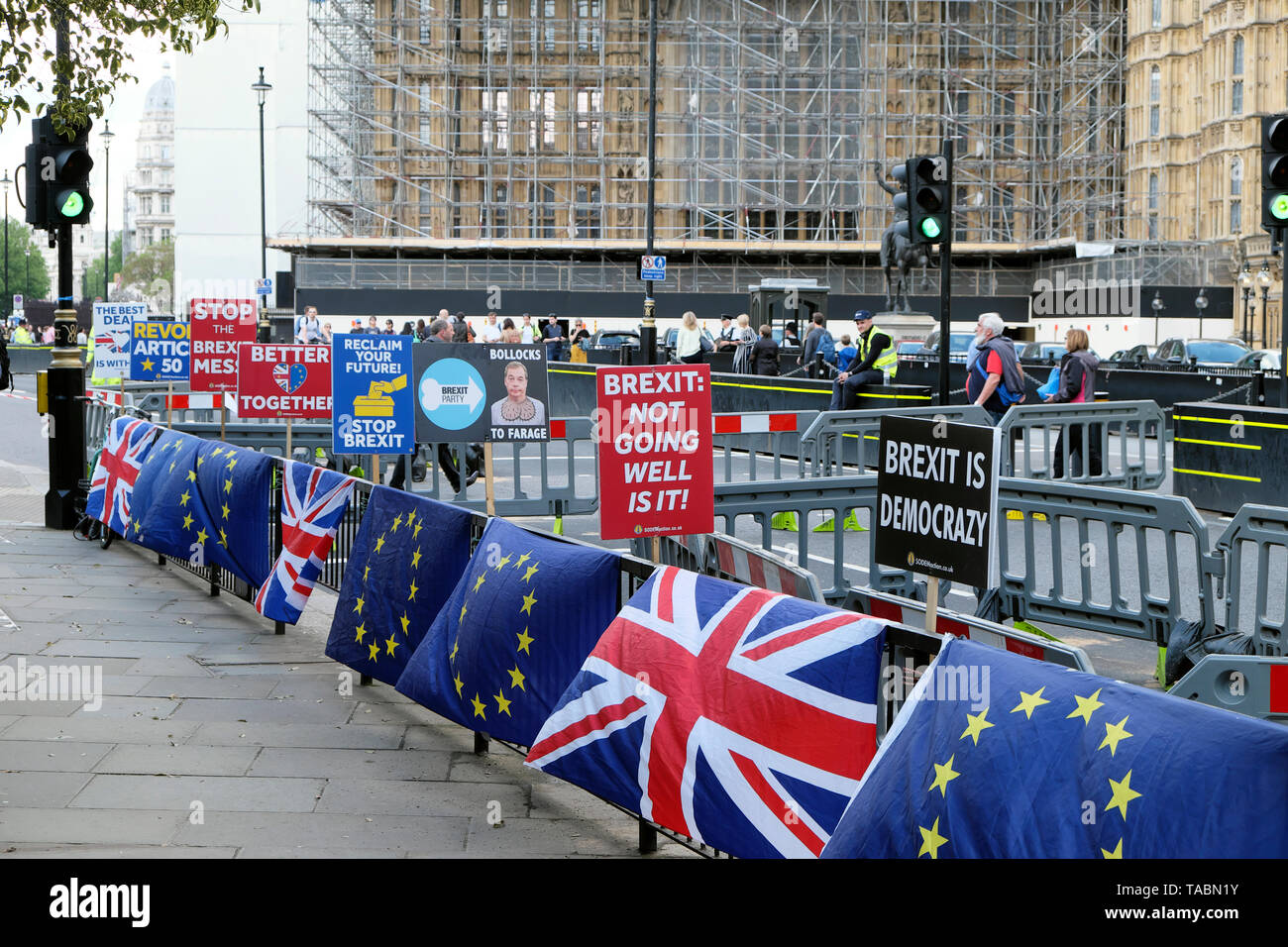 Brexit posters outside Houses of Parliament in London England UK  KATHY DEWITT - Stock Image
