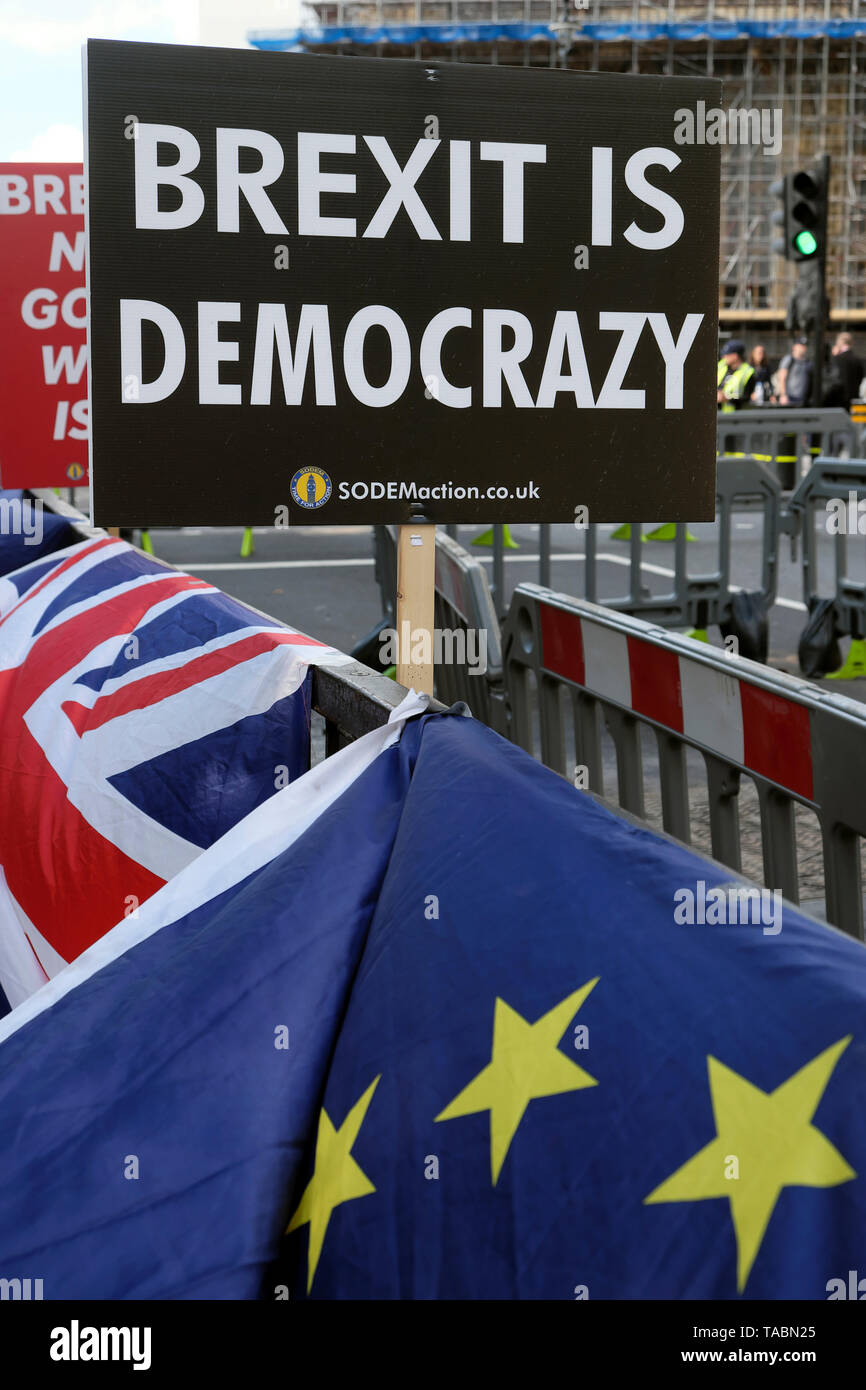 Brexit posters SODEM anti-Brexit anti leave pro Remain poster outside Houses of Parliament in London England UK  KATHY DEWITT - Stock Image