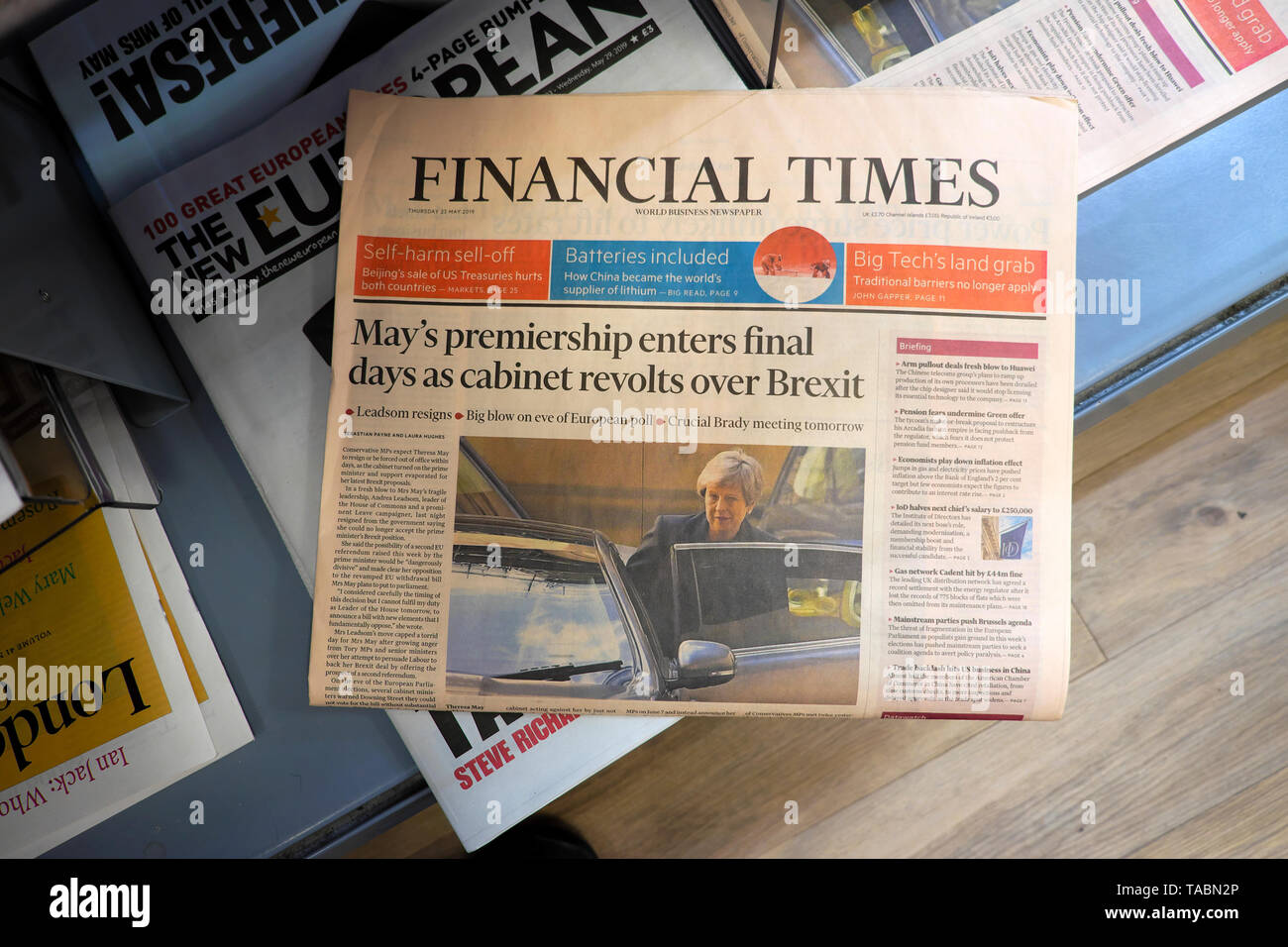 Financial Times newspaper headlines front page 'May's premiership enters final days as cabinet revolts over Brexit' for PM Theresa May on a supermarket newsstand on 23 May 2019 in London England UK - Stock Image
