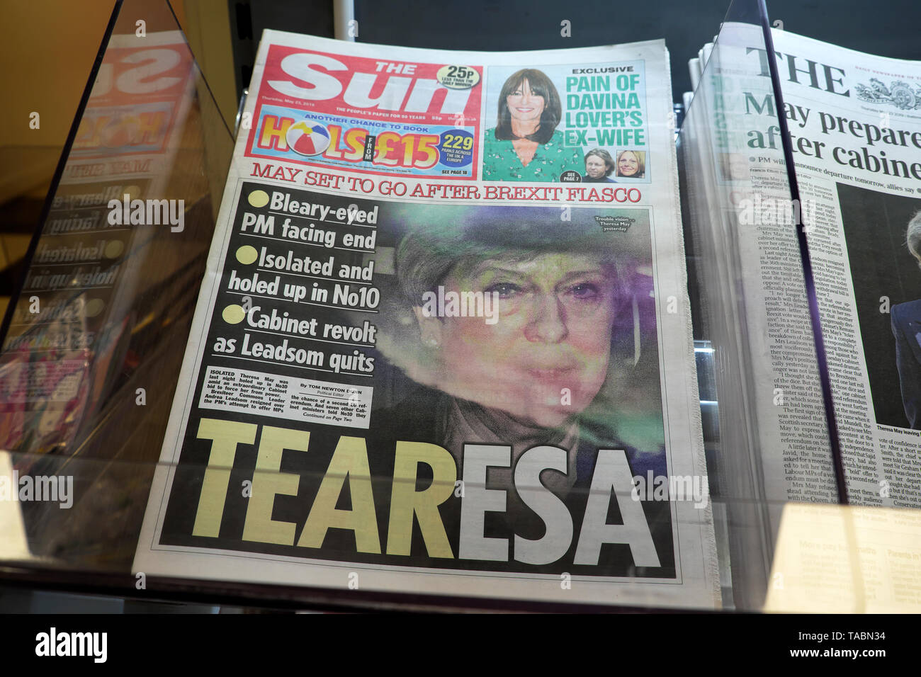 The Sun newspaper headline front page 'TEARESA May Set to Go After Brexit Fiasco'  and Cabinet revolt as Andrea Leadsom quits on  23 May 2019 in the buildup to a Conservative Tory leadership contest in Westminster London England UK - Stock Image