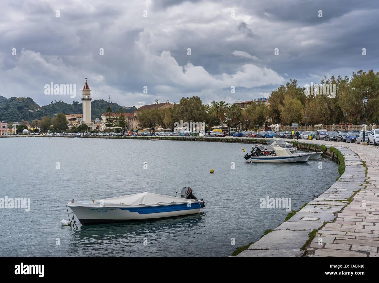 Zakynthos, Greece -  April 2019 : Boats moored on the shore in Zakynthos Port, Ionian islands - Stock Image