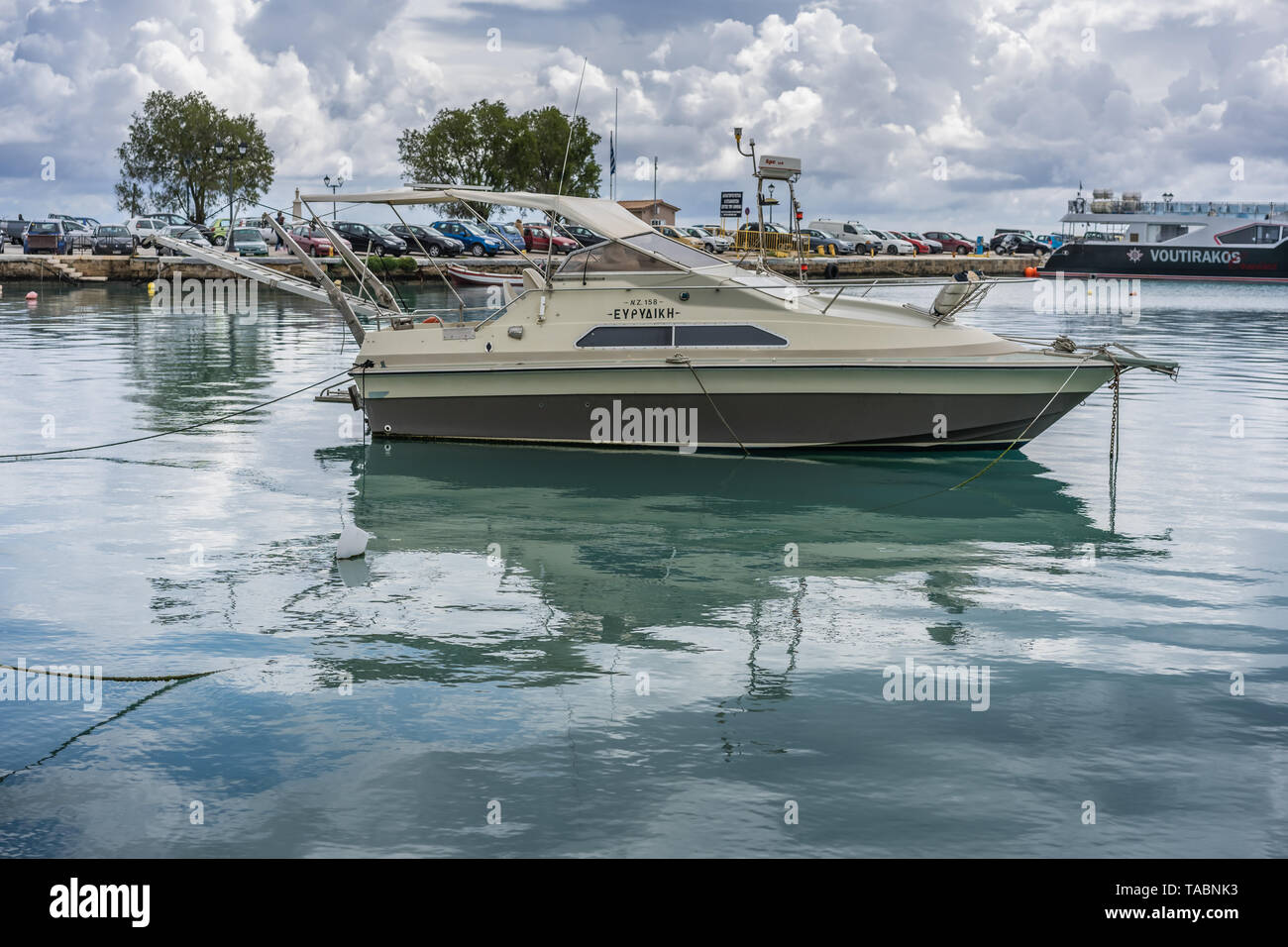 Zakynthos, Greece -  April 2019 : Private small speedboat moored on the shore in Zakynthos Port, Ionian islands - Stock Image