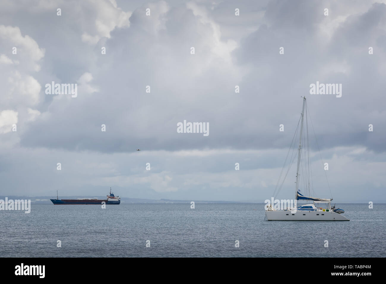 Zakynthos, Greece -  April 2019 : Private yacht on the waters of Zakynthos Bay, Ionian island - Stock Image