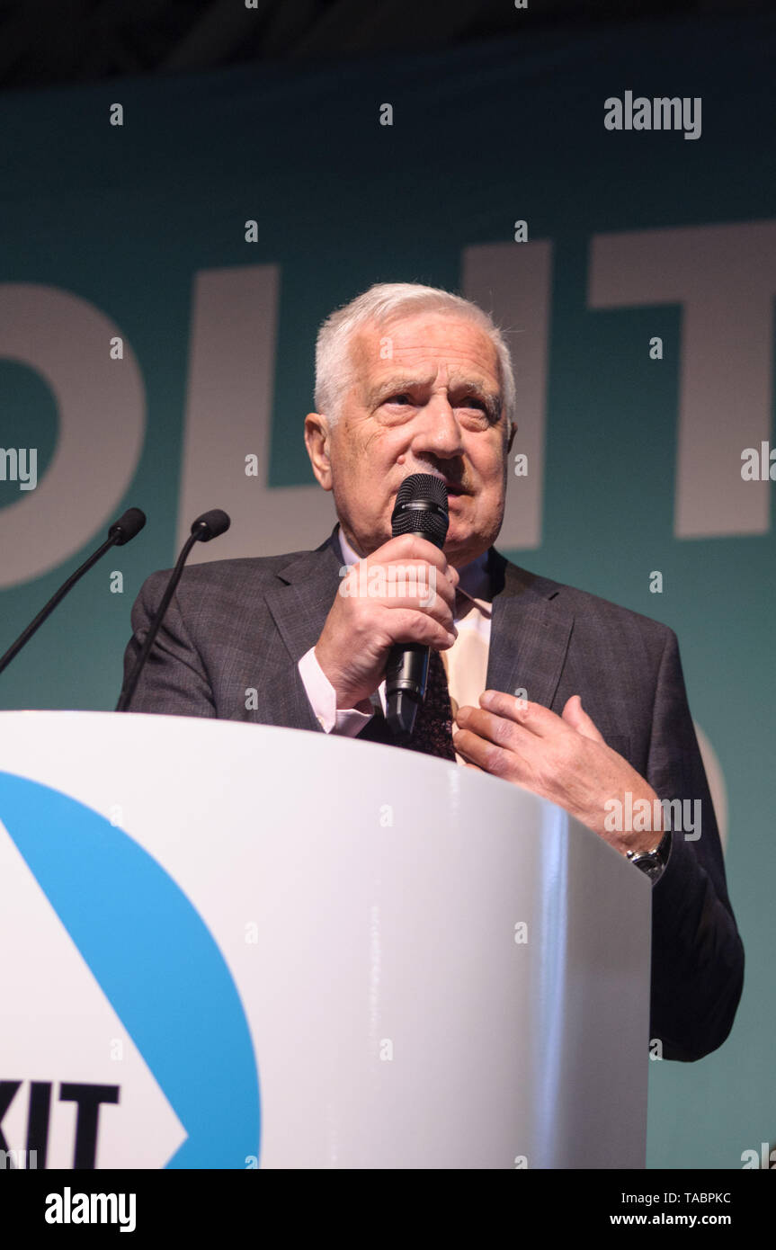 Former Czech President Vaclav Klaus at Brexit Party rally at London Olympia on 21 May 2019 before the European Election Vote on the 23 May Stock Photo